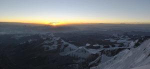 horizonte, amanecer, montañas, cumbre